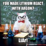 you made lithium react with argon